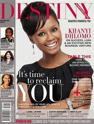 Destiny (magazine) - Image: Khanyi Dhlomo, October 2008 cover of Destiny Magazine