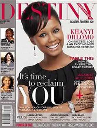 Destiny (magazine) - Image: Khanyi Dhlomo, October 2008 cover of Destiny Magazine