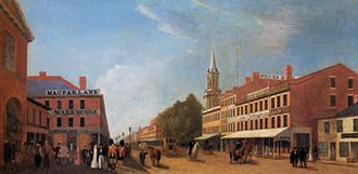 "Great Fire of Toronto (1849) - View of King St looking west from Jarvis prior to 1849. All buildings right of the tree (the ""Market Block"" and St. James church) were destroyed. The first building on the left is the former Toronto City Hall. It was damaged as were some of the buildings on the west. City Hall was replaced by St. Lawrence Hall"