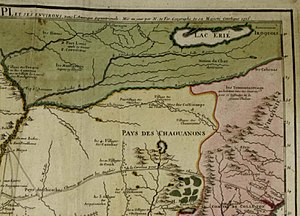 History of West Virginia - 1715 Nicolas de Fer map showing the Native American areas known as Tionontatacaga and Calicuas