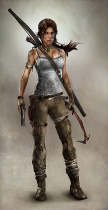 A computer-generated image of a brown-haired woman whose body faces to the right while her head is turned down towards the ground, and left hand is placed on her wounded shoulder. She wears a dirty white shirt, ripped green pants and black boots. She has several abrasions covered by cloth, and is holding a bow in her right hand.