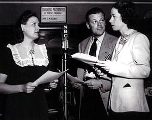 Portia Faces Life - For much of the radio series, Portia Blake was portrayed by Lucille Wall (far right), seen here with two unidentified actors.