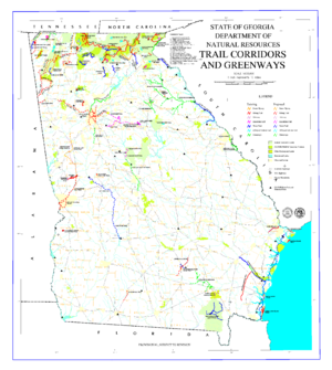 Trails of the Chattahoochee National Forest - Map showing trails of Georgia