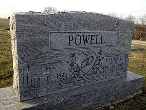 Mel Powell - Gravesite of Mel Powell and wife Martha Scott in Jamesport, Missouri.