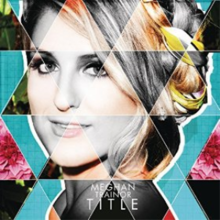 "A facial portrait of a young blonde woman smiling. Her hair is tied back with a section of her fringe covering the far left-side of her face. The portrait is triangulated and colored in turquoise and gray-scale patterns with a flower in the backdrop. At the bottom of the portrait in white capital font stands the name, Meghan Trainor, and in a larger and bolder font the title, ""Title""."