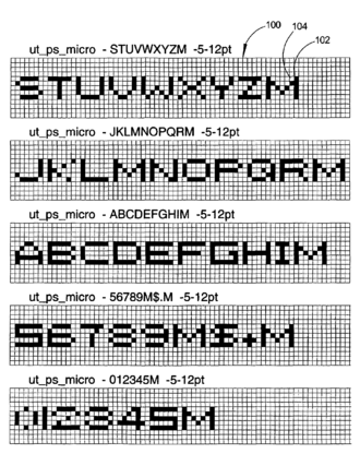 Microprinting - Examples of several microfonts used in digital microprinting