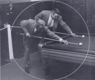 """Willie Mosconi - Mosconi (left) with """"Cowboy Jimmy"""" Moore at the 1953 World's Invitational"""
