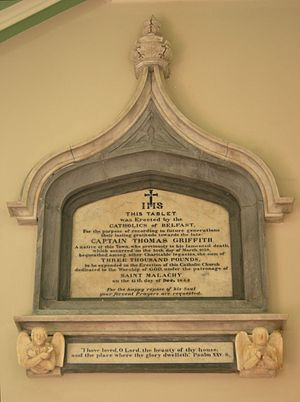 St Malachy's Church, Belfast - The monument to Captain Griffith and Commemoration of the opening of Saint Malachy's in December 1844