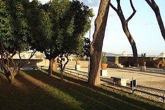 Orange Garden, Rome - Orange trees and the terrace at the Orange Garden, Rome