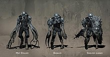 Concept art showing three versions of a humanoid alien that has undergone mutations from Mist Stalker to Brawler to Shielded Gunner