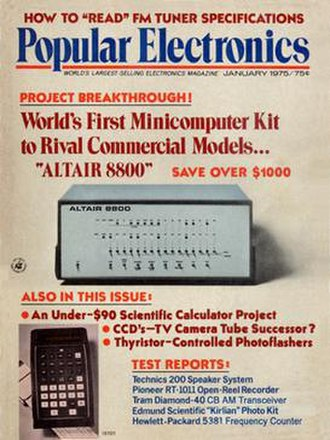 Altair 8800 - January 1975 Popular Electronics with the Altair 8800 computer. Published on November 29, 1974