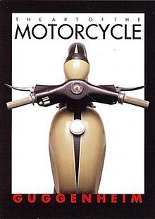 "Postcard with legends saying ""The Art of the Motorcycle"" and ""Guggenheim"", and a top view of the gas tank, handlebars and front fender of an Art Deco styled motorcycle."