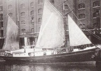 Shackleton–Rowett Expedition - Expedition ship Quest, moored in St Katharine Docks, London