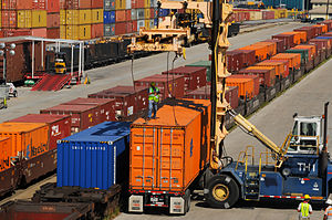 Port of New Orleans - The Napoleon intermodal railyard allows for containers to be transported by train.