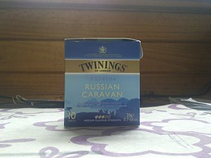 A box of Russian Caravan made by Twinings