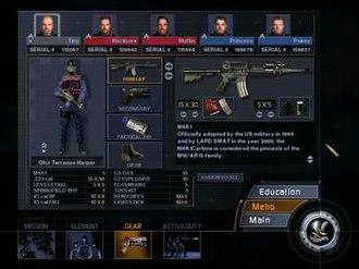 SWAT 3: Close Quarters Battle - The pre-mission loadout screen. The weaponry and ammunition loadout of each officer in the element is customizable to suit different situations.