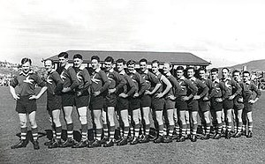 Sandy Bay Football Club - Sandy Bay team posing for the photographer, c. 1950.