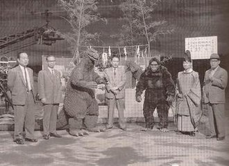 King Kong vs. Godzilla - A Shinto priest performs a purification ceremony prior to the start of filming.