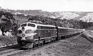 North East railway line - B class diesel leading the Spirit of Progress in the 1950s