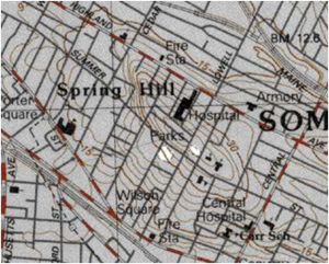 Spring Hill, Somerville, Massachusetts - Topographical map showing contour of Spring Hill