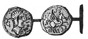 Tasgetius - Drawing of bronze coin issued by Tasgetius (Tasgiitios)