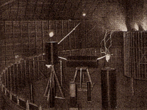 Colorado Springs Notes, 1899–1900 - Effect of strong electromagnetic fields: The rough coil is co-ordinated oscillator (50,000 periods) with the basic frequency. The two larger vertical coils on the double and the remaining on multiple basic frequency. A small coil co-ordinated with 26 subject basic frequency likewise strongly one excited.