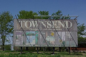 Townsend, Ontario - Weathered original Townsend sign, that until recently was located just south of the community.