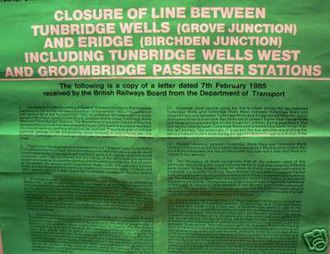 Groombridge railway station - Notice announcing the line's closure in 1985