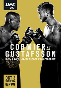 A poster or logo for UFC 192: Cormier vs. Gustafsson.