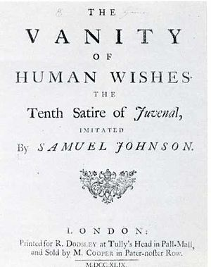 1749 in poetry - Title page of The Vanity of Human Wishes by Samuel Johnson, first published this year