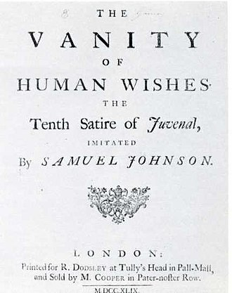 The Vanity of Human Wishes - Title page of The Vanity of Human Wishes (1749) first edition