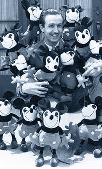 Charlotte Clark - Walt Disney with a collection of Charlotte Clark Mickey Mouse dolls