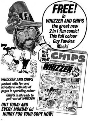 Guy Fawkes mask - Guy Fawkes mask promotion in the Whizzer and Chips comic, 1960s.