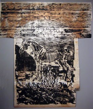 Anselm Kiefer - Image: 'Grane' by Anselm Kiefer. Woodcut with paint and collage on paper mounted on linin, Museum of Modern Art (New York City)