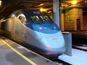 Acela 2038 tailing Acela 2030 en route to Washington, D.C., at Providence, RI, in 2005