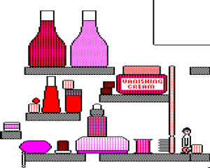 Elixir (video game) - Laboratory's shelves, navigated by Cyril to the lower right (BBC Micro)