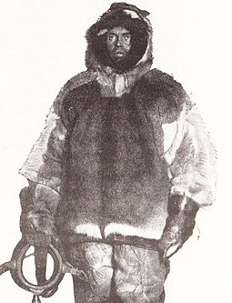 "Olav Bjaaland dressed for winter travel: ""Not an outfit that cut a dash by its appearance, but it was warm and strong"" BjaalandWinterclothing1911.jpg"