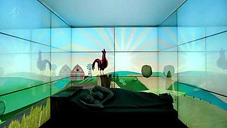 "Fifteen Million Merits - Bing (Daniel Kaluuya) awakens in his screen-covered ""box"" every morning."