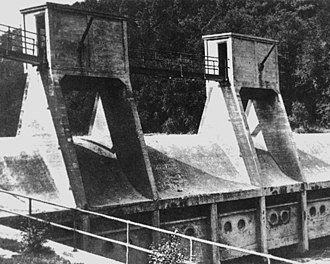 Bloede's Dam - The Bloede Dam as it once stood in ca. 1907