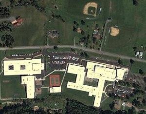 Brockway Area Junior/Senior High School - USGS image of Brockway Area HS and MS
