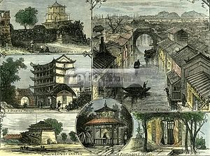 Liszt Collection - Canton, China, 1883. A watercolored woodcut from the Liszt Collection