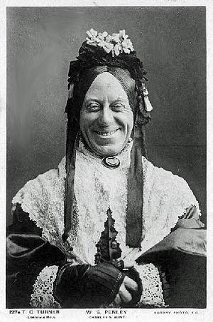 Theatre Royal, Bury St Edmunds - W. S. Penley as the first Charley's Aunt, Donna Lucia d'Alvadorez, performed at the Theatre Royal, Bury St Edmunds, in 1892.