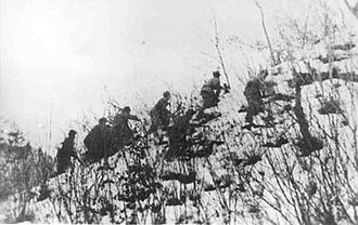 Battle of Chosin Reservoir - Soldiers from the Chinese 79th Division moving to engage the Marines at Yudam-ni.