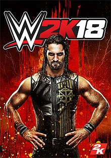 A picture of Seth Rollins is seen on a red background with a splash effect behind him in mainly orange colors. The game's logo appears on the top.