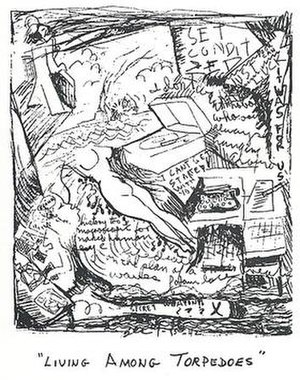"""Ben Culwell - Ben Culwell, Living Among Torpedoes (Picture of my consciousness during operations at """"Torpedo Junction"""" in Sept. 1942) 1942–1944. Mimeograph on paper. 8⅝ × 6¼""""."""