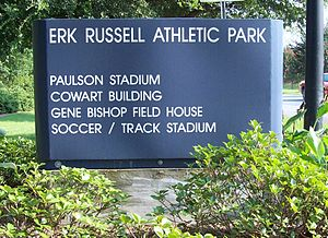 Erk Russell - Sign at the entrance to Paulson Stadium dedicating the Athletic Fields in honor of him.
