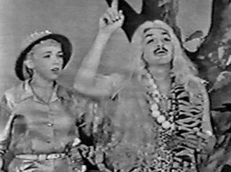 "Edie Adams - Kovacs as ""Leena, Queen of the Jungle"" with Adams in 1956."