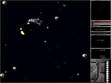 Un campo de espacio con naves en él y una interfaz a la derecha.