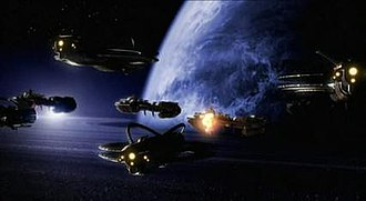 Farscape: The Peacekeeper Wars - The Scarran and Peacekeeper fleets engage one another