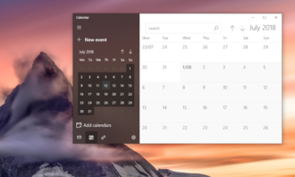 Fluent Design System - The Calendar application in Windows 10, showing aspects of Fluent Design, such as acrylic, and thinner window borders.